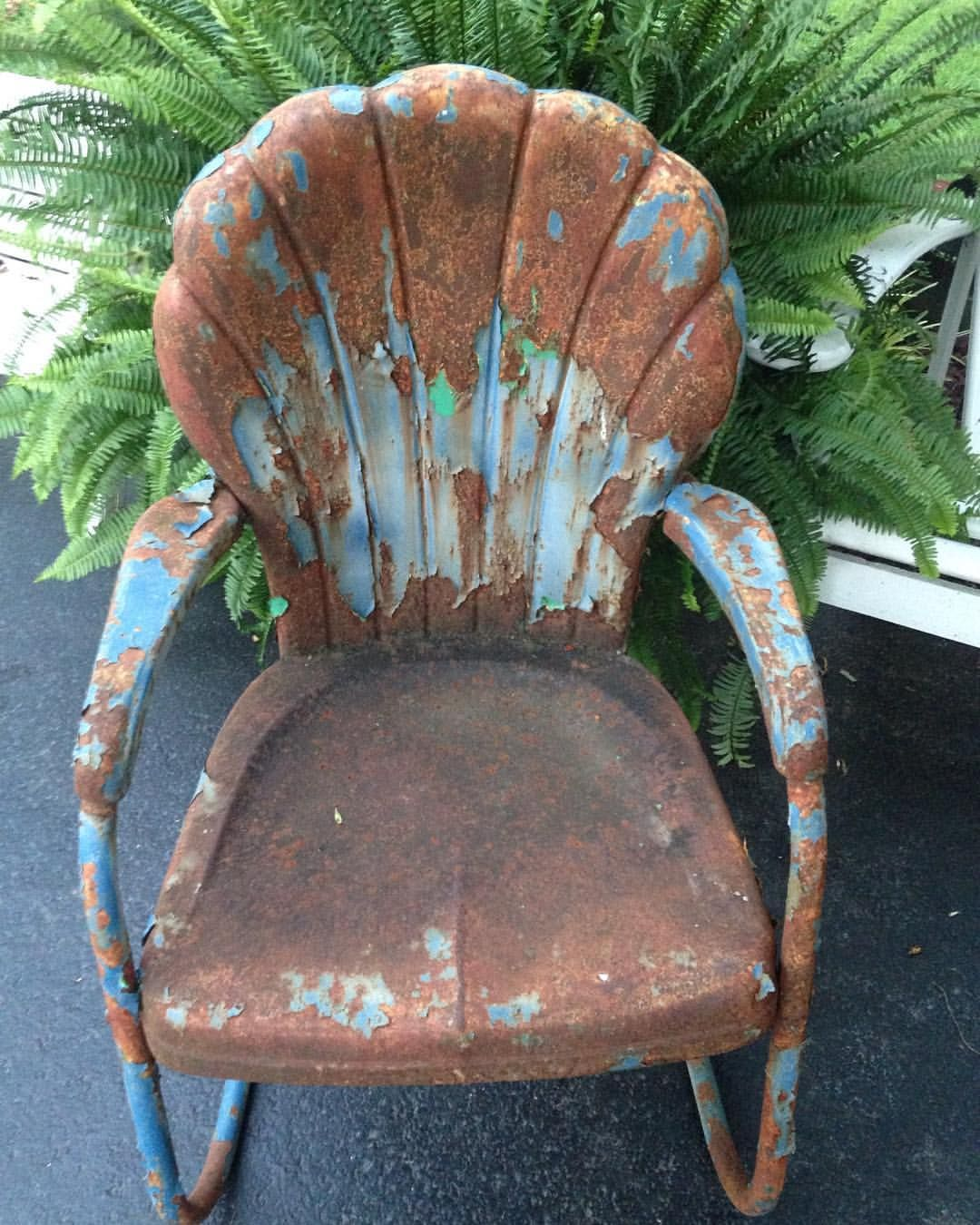 406e6f0f23a6 Reserved for K Gush Retro Metal Lawn Chair Scallop Back Rustic Vintage  Porch Furniture