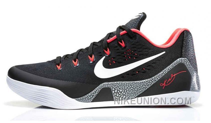 Cheap Authentic Nike Kobe 9 EM Black WhiteLaser CrimsonWolf Grey 646701001 Online