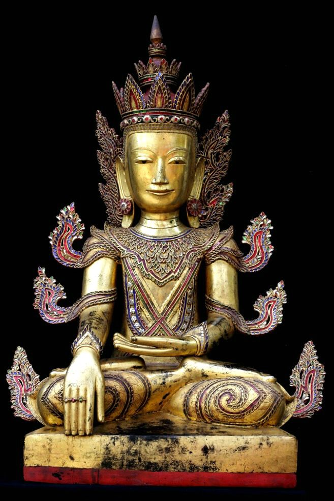 Extremely Rare Early 18C Lacquer Shan Burmese Buddha