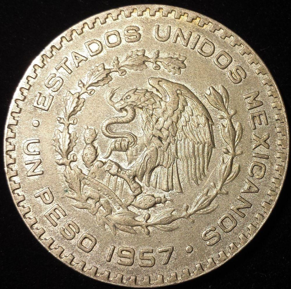 1957 Silver Peso Historic Mexico