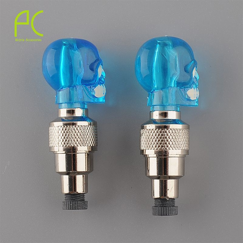 PCycling 2Pcs 3 Color Bike Bicycle Motorcycle Car Wheel Spoke Tire Valve Cap Skull Shape Neon