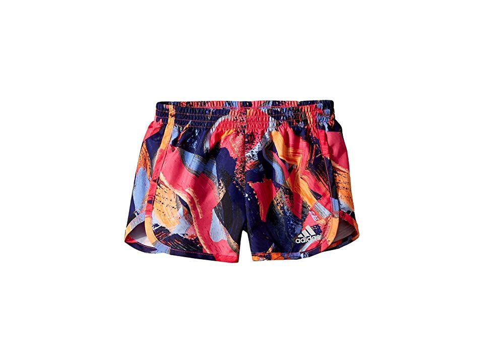 adidas Kids Breakaway Printed Woven Shorts (Toddler/Little Kids) (Navy Print) Girl's Shorts. Take a step away from the norm and help her do her own thing in this adidas Kids Breakaway Printed Woven Shorts. adidas Training apparel pays attention to the details so distractions are eliminated and the focus is purely on the training. climalite fabric pulls moisture away from the skin and pushes it towards the outer fabric face for