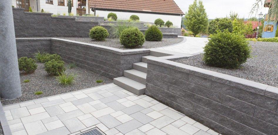 pflastersteine siliton von rinn betonsteine und natursteine steinmauer garten vorgarten