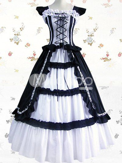 76bc7e1e1e8c5 White And Black Cuff Sleeves Bandage Ruffled Cotton Classic Lolita Dress