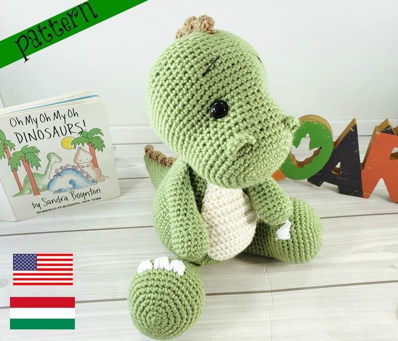 T-Rex crochet pattern, dinosaur crochet pattern, crochet dinosaur, crochet T-Rex, crochet pattern #crochetdinosaurpatterns