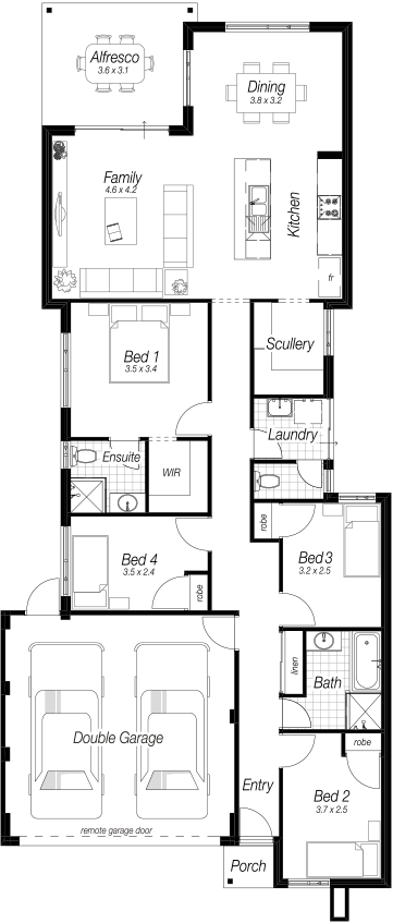 Narrow Block Home Designs Perth   The Eagle Bay   Complete Homes ...