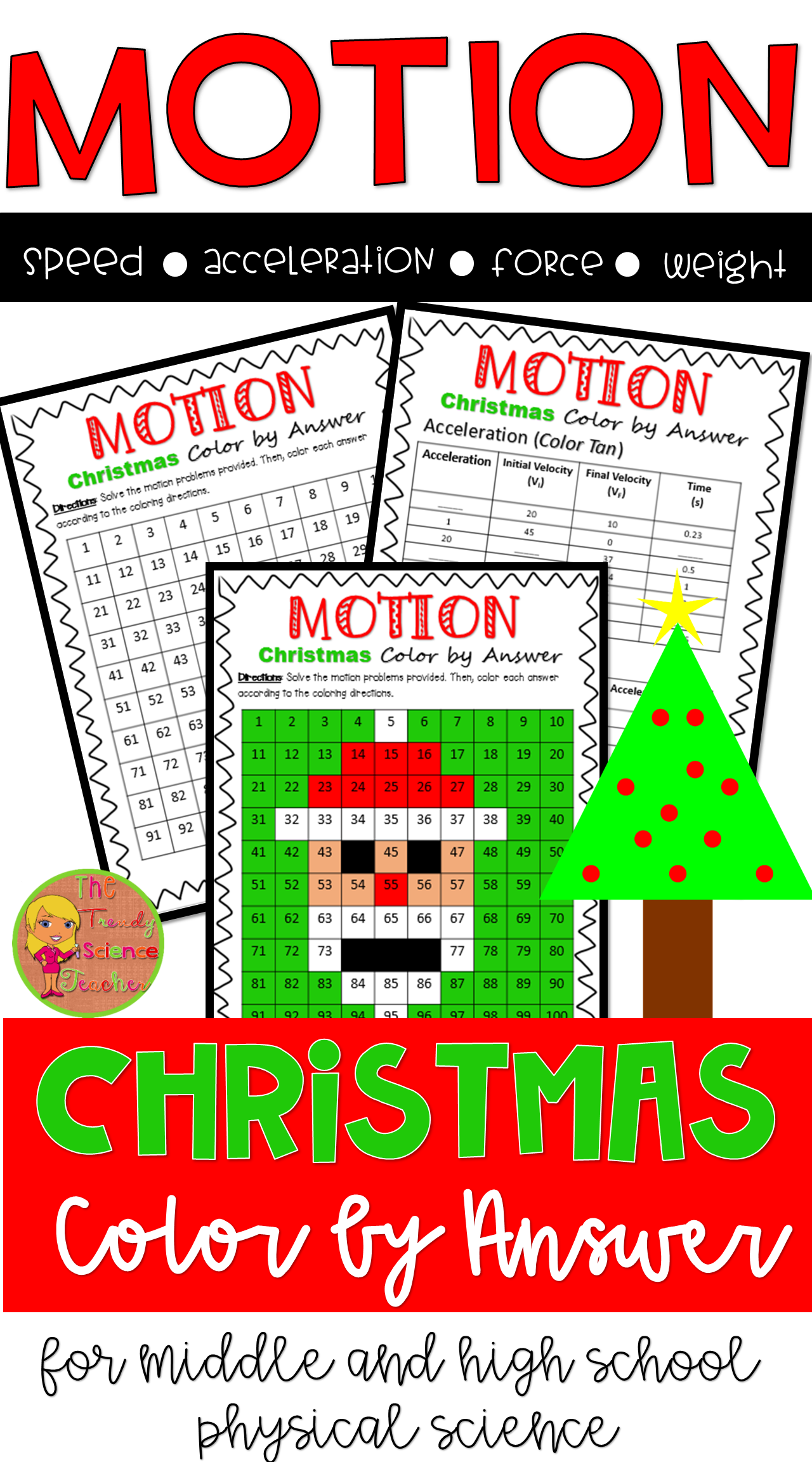 Force And Motion Christmas Color By Number Worksheet