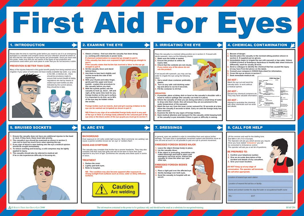 Printable Emergency First Aid Chart | First Aid For Eyes ...