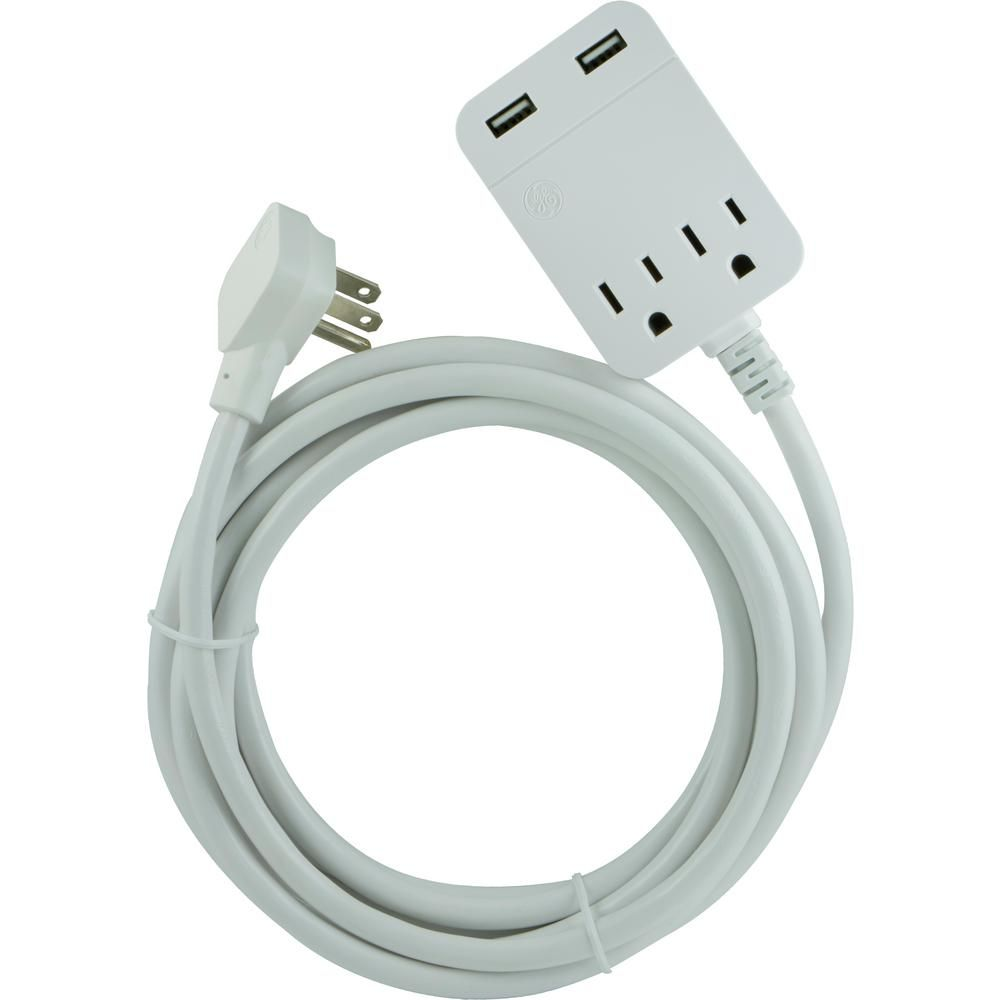 Ge 2 Outlet 2 Usb Extension Cord Sur Protection With 12 Ft Cord White 2 Outlets And 2 Usb Ports 12 Ft Cord Extension Cord Usb Cord
