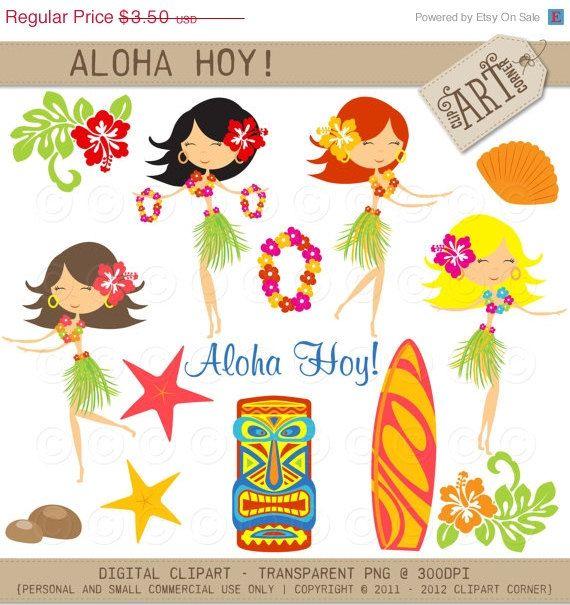 Tropical Clipart Watercolor Hawaiian Clipart Luau Clipart Aloha Hula clipart Tiki bar beach clipart Beach Party Surf clipart Summer clipart