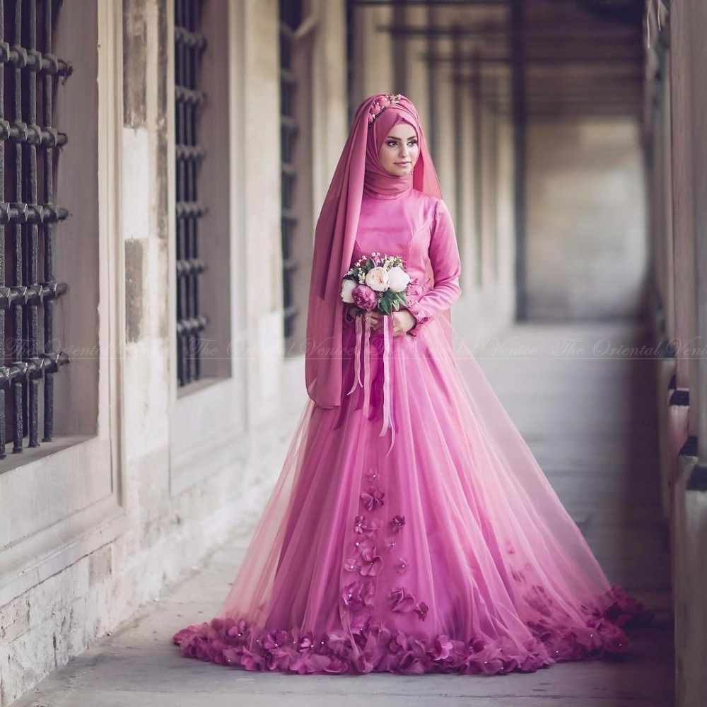 Hot Pink Long Sleeves Muslim Wedding Dress With Hijab High Neck 3D ...