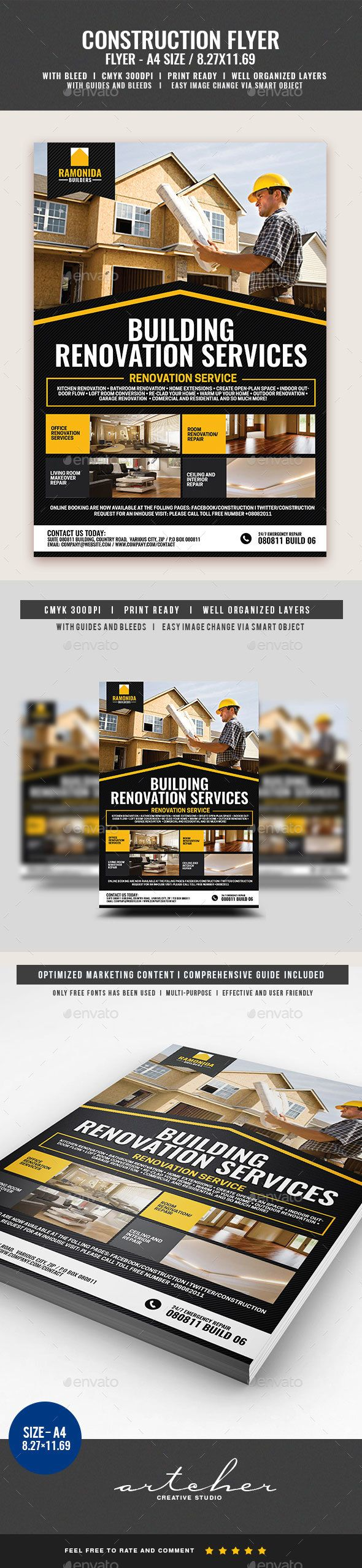 Home Renovation Service Flyer Template PSD