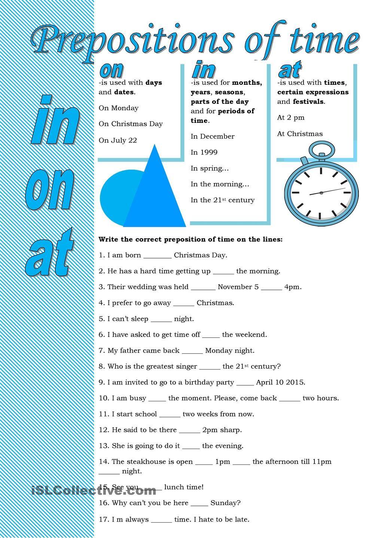 Prepositions of time worksheet - Free ESL printable worksheets made by  teachers