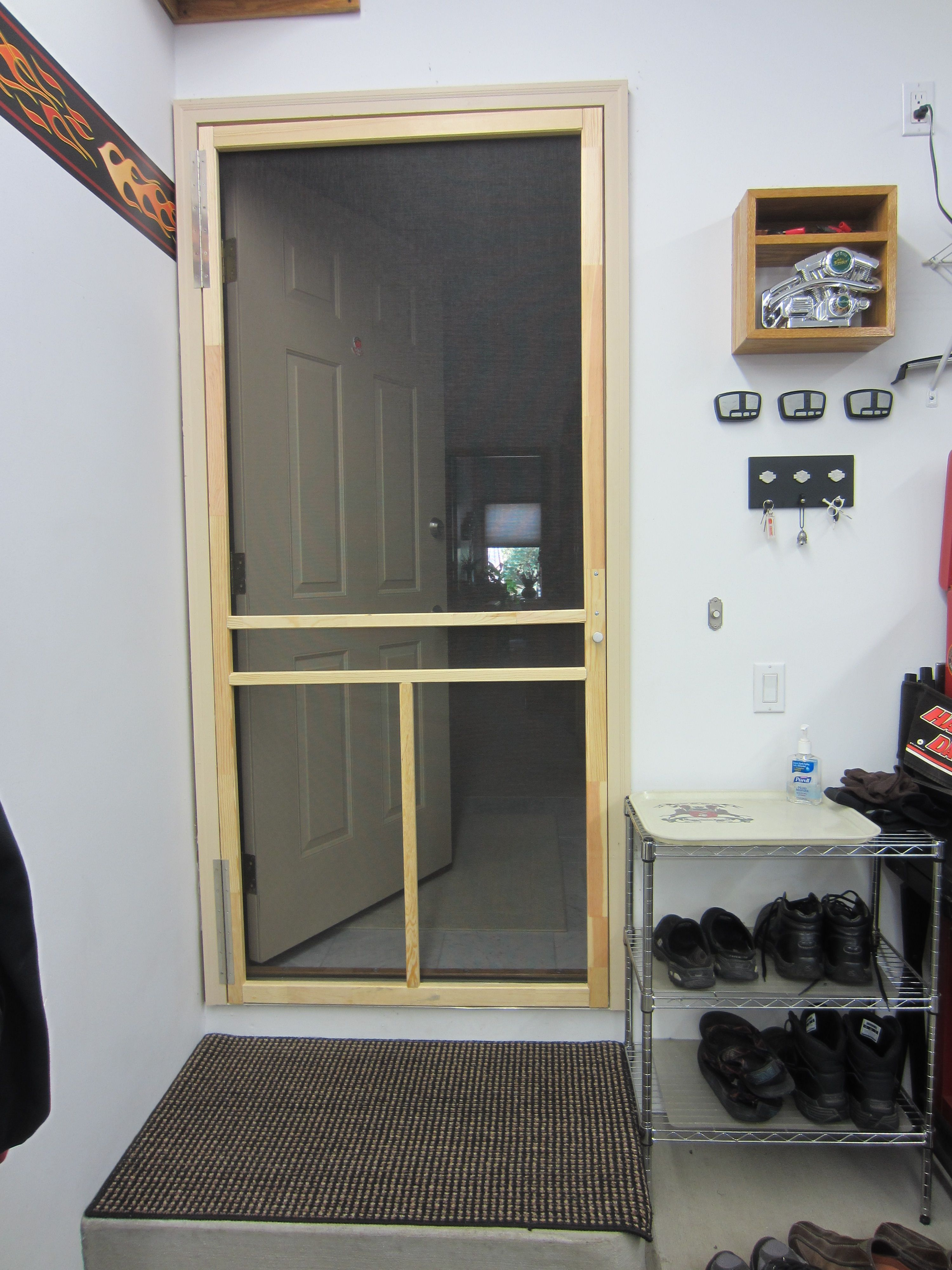 Screen Door Between House And Garage Provides Energy Savings By Not Having To Run The Air Conditioning When It S Cooling Off Outside Sim House Diy Garage Home