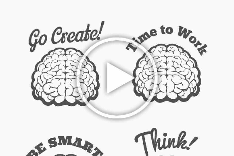Human brain logo set