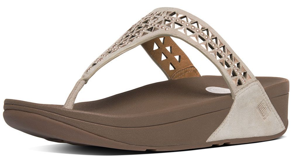 648c3f03e Fitflop 671-323 Women S Rose Gold Carmel Toe-Post Thong Sandals - With Box