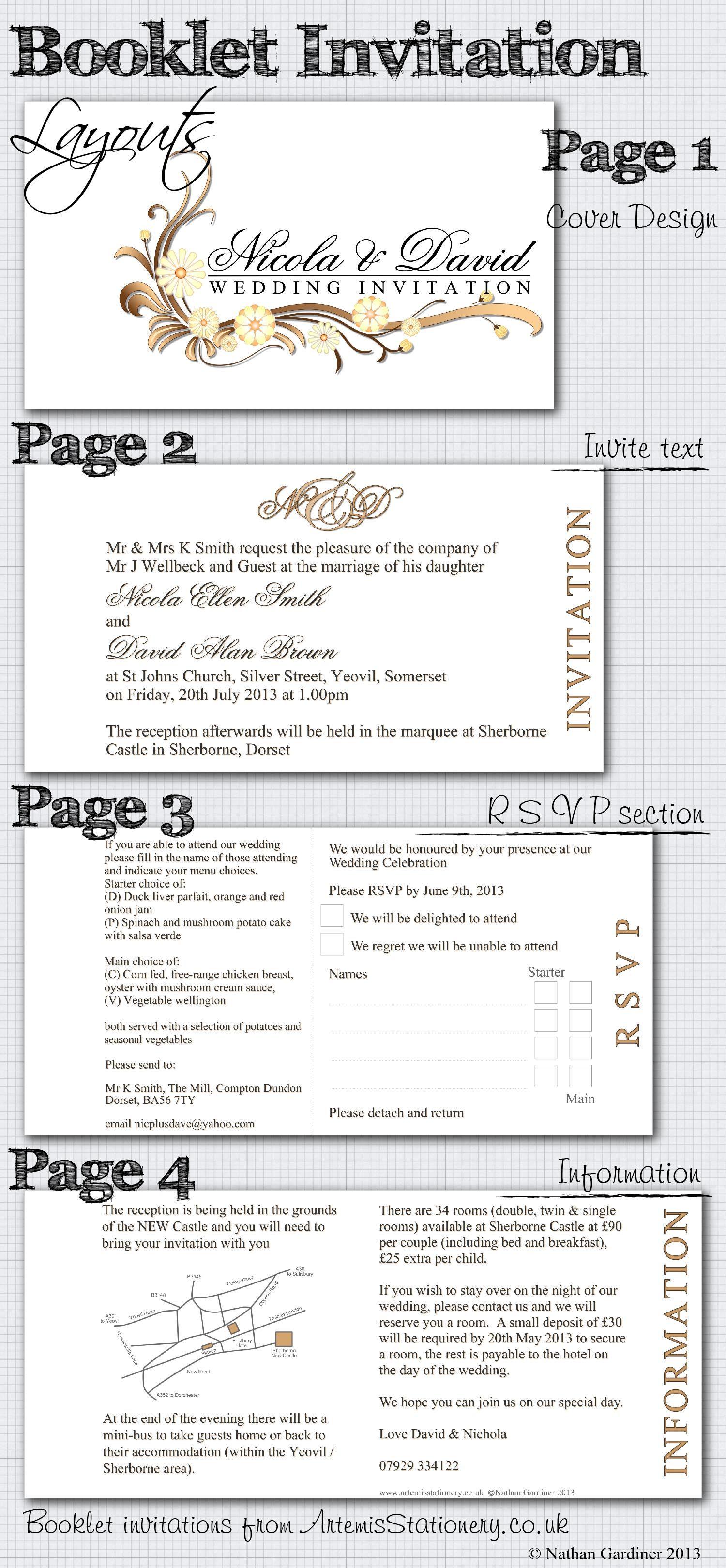 Artemis Stationery suggested booklet wedding invitation layout ...