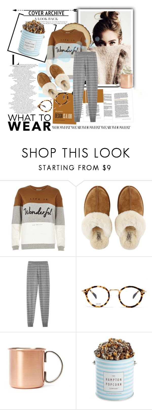 """What to Wear: Netfix Binge"" by pooka-princess on Polyvore featuring River Island, UGG Australia, CÉLINE, Forever 21, The Hampton Popcorn Company and WhatToWear"