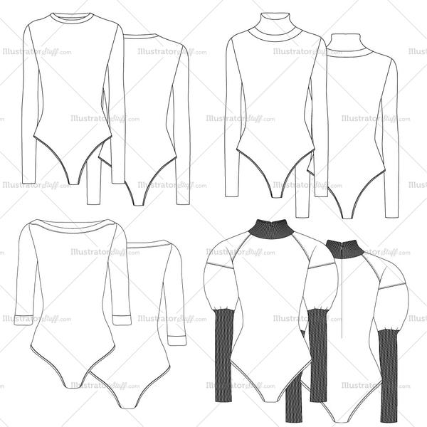 Free Fashion Flat Templates + Trim Pack Bodysuit fashion