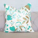 Our teal, emerald and gold floral 20x20 pillow cover with a zipper sewn in at the bottom. All of our...