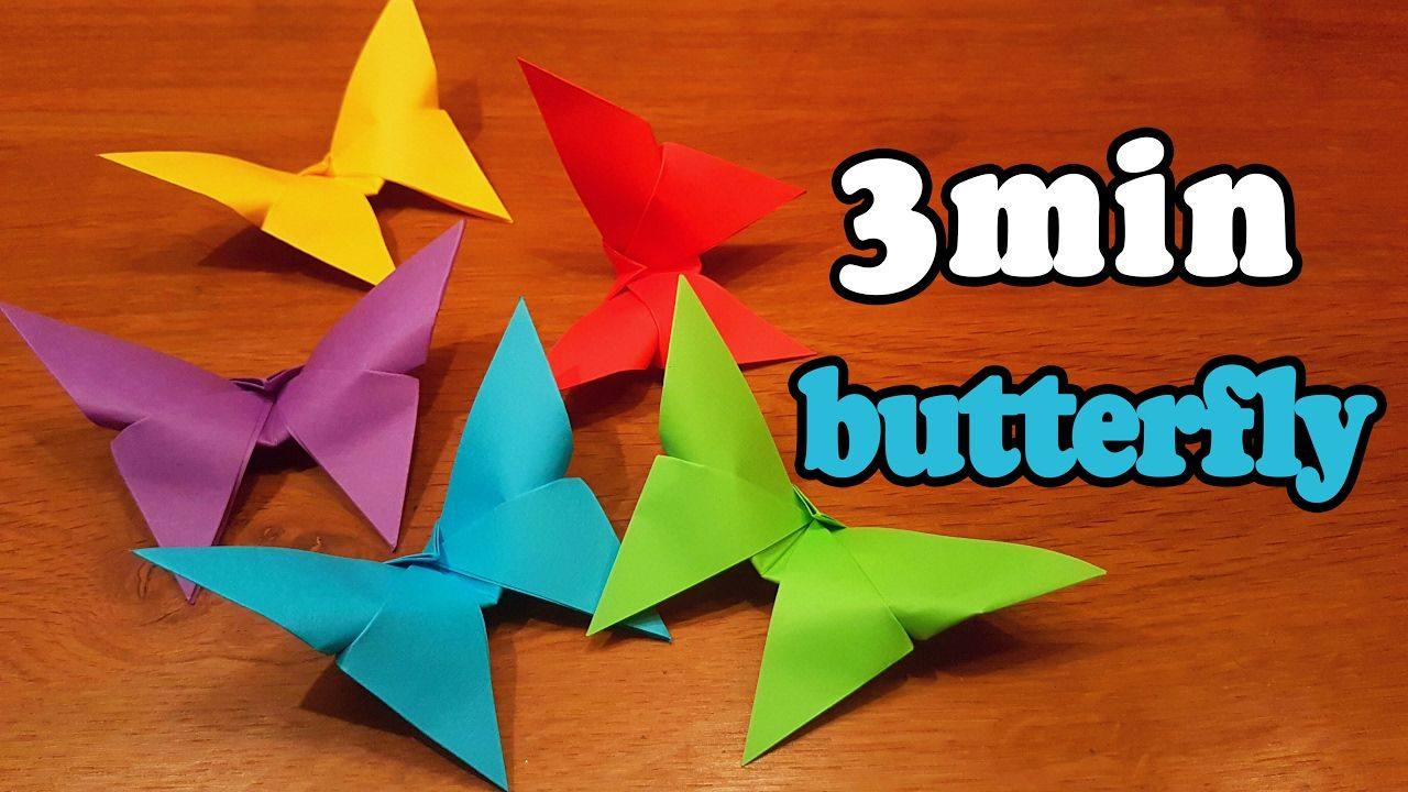 How To Make An Easy Origami Butterfly In 3 Minutes Youtube Origami Bird Easy Origami Butterfly Tutorial Origami Easy