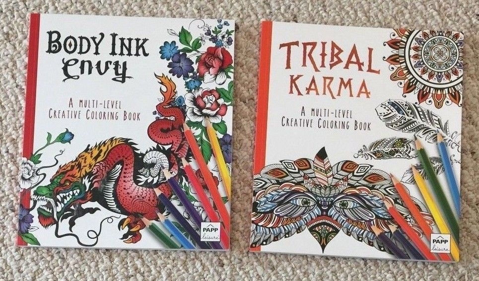 Lot Of 2 Brand New High Quality Adult Coloring Books 1 Body Ink Envy