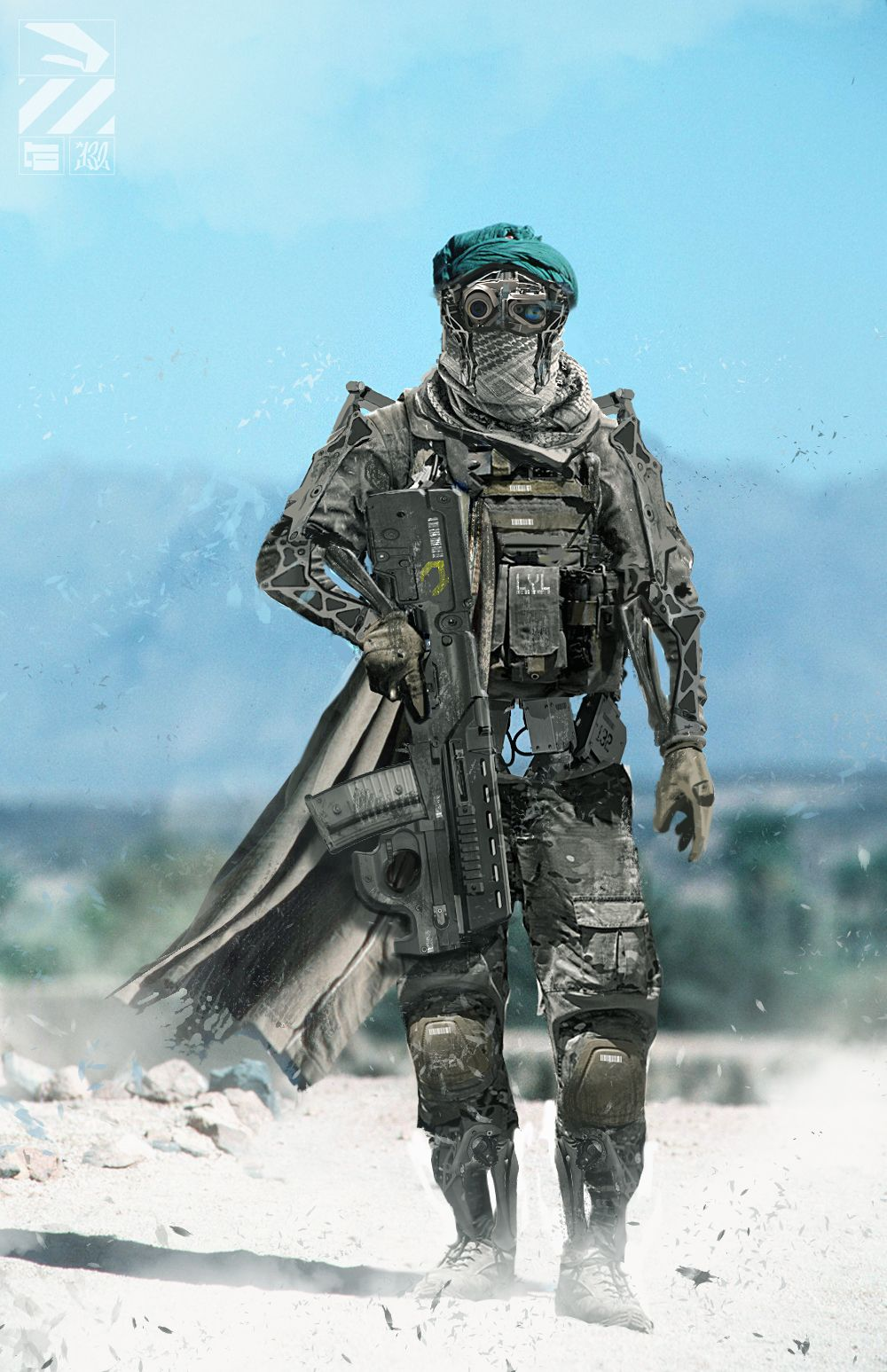 Balisian desert officer, Captain Tygri Cole. Went through major cybernetic reconstructive surgery to repair his body after a devastating ambush near Crystalia.