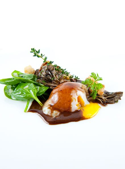 Sous-Vide Egg with Red Wine Sauce & Wild Mushroom Panzanella
