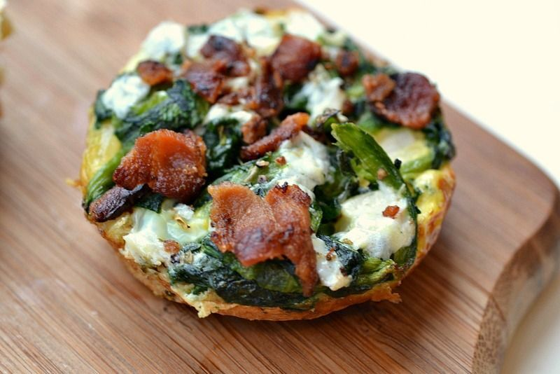 Mini Spinach & Turkey Bacon Quiches