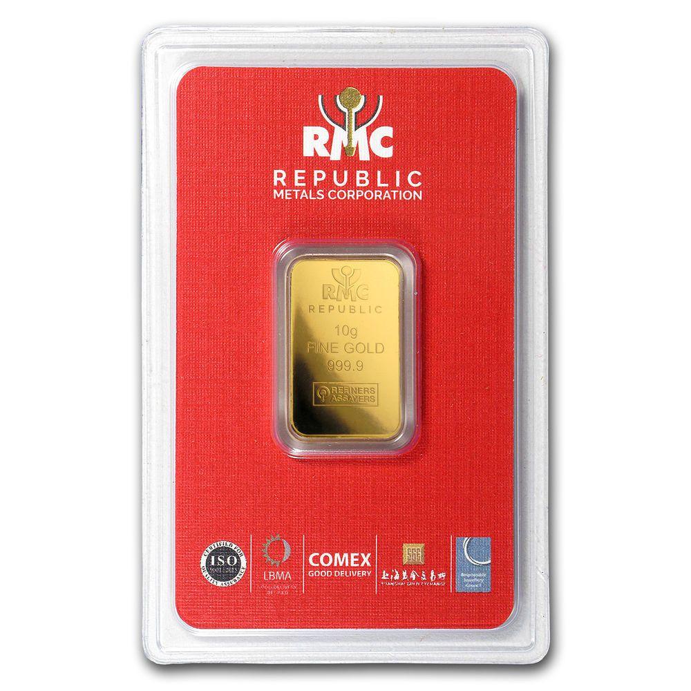 10 Gram Gold Bar Republic Metals Corporation In Assay