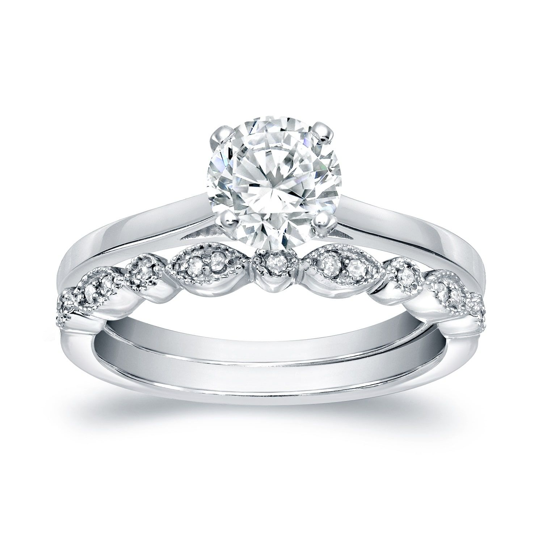 Auriya k gold ct tdw diamond vintage style wedding ring sets