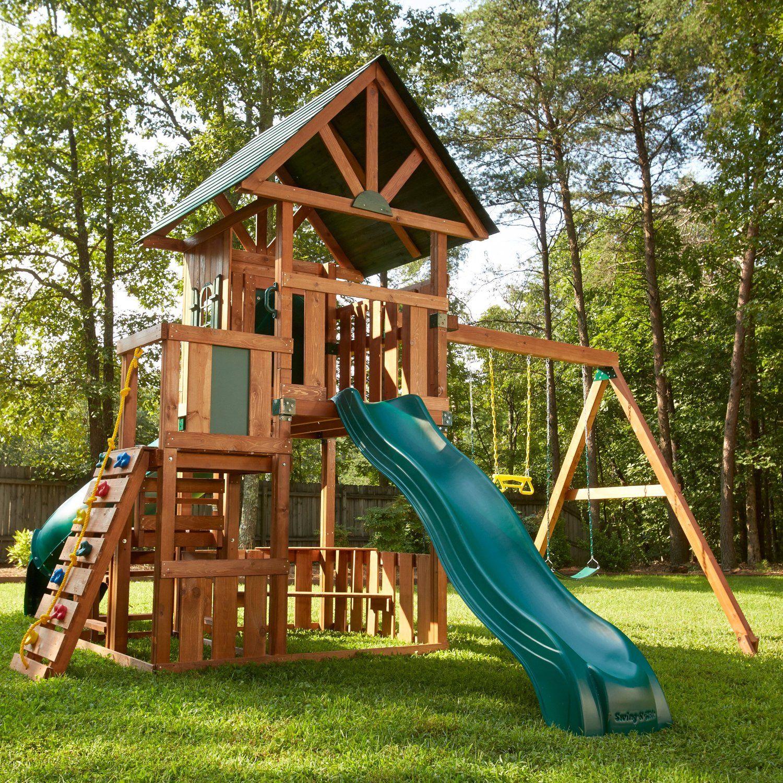 Amazon Com Southampton Wood Complete Ready To Assemble Swing Set
