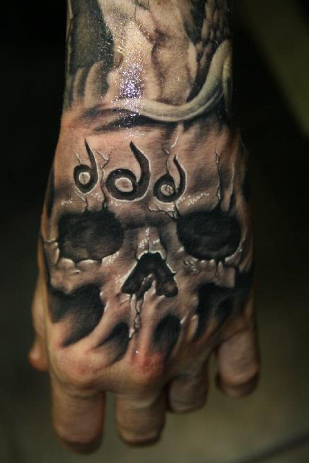 35 Awesome Skull Tattoo Designs Skull hand tattoo, Hand