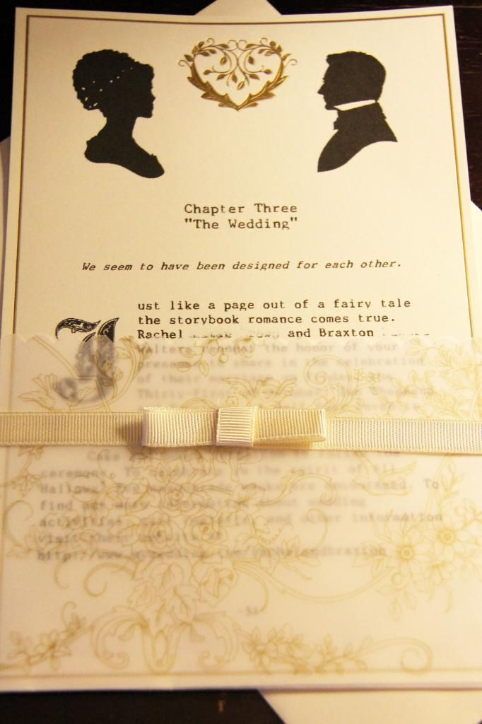 Jane Austen-themed wedding invitations with personalized library ...