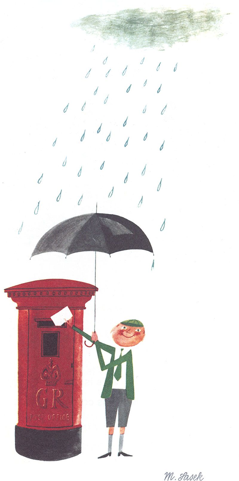 Watercolour with pen and ink, originally for 'This is London' (1959). Here the boy in school uniform posts his letter home. And pillar boxes, like red London Buses or telephone booths – indeed like black umbrellas and the rain itself –  are iconic, not only of London, but of England as a whole.