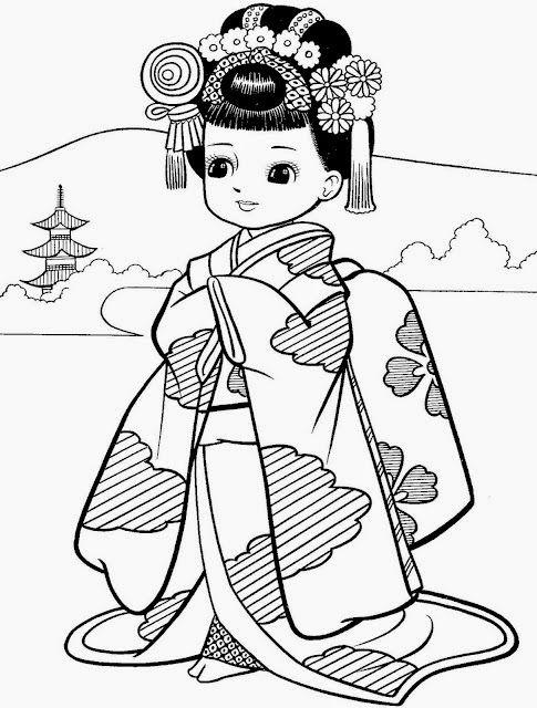 Desenhos de meninas japonesas para colorir, pintar, imprimir ...