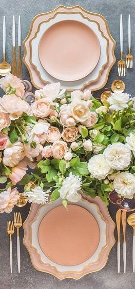 Floral Tablescape Peach Tablescape Pink Tablescape Spring Table Settings Wedding Table Flowers Wedding Table Settings