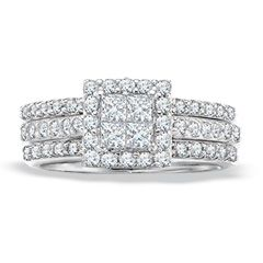 T W Princess Cut Diamond Wedding Set In 14k White