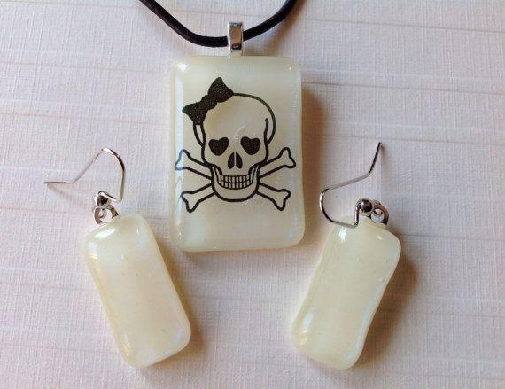 Fused Glass Skull Pendant and Earring Set by LaGlasSea on Etsy