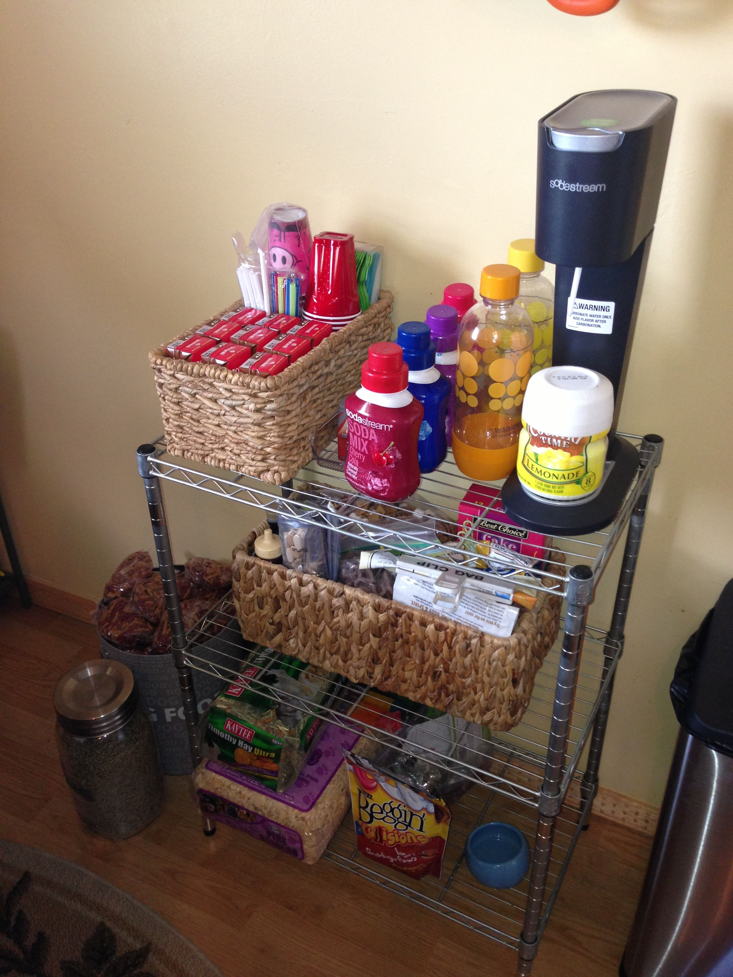 Our small space organization for drinks/snacks and pet
