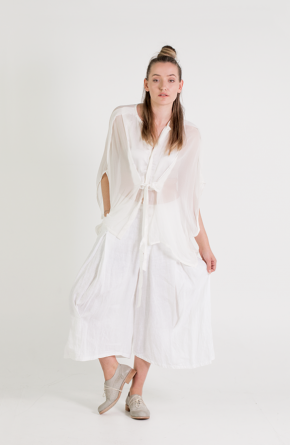 Umit Unal   Et Vous   Silk Top With Ties and White Wide Leg Pants