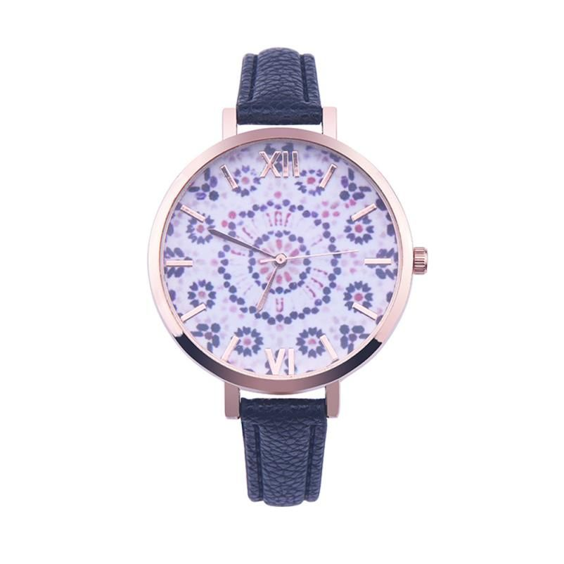 796f1fcecb0 Relojes Mujer 2016 Teste Padrão Floral de Couro Relógio de Quartzo  Algarismos Romanos Dial Relógio de