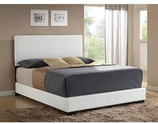 White Queen Size Bed Frame Upholstered Faux Leather