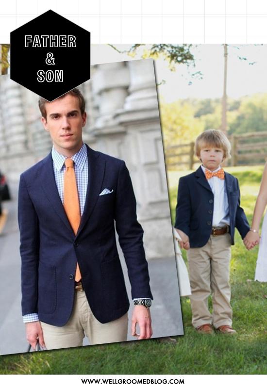 padre e hijo, traje para un evento en jardín. | la corte real