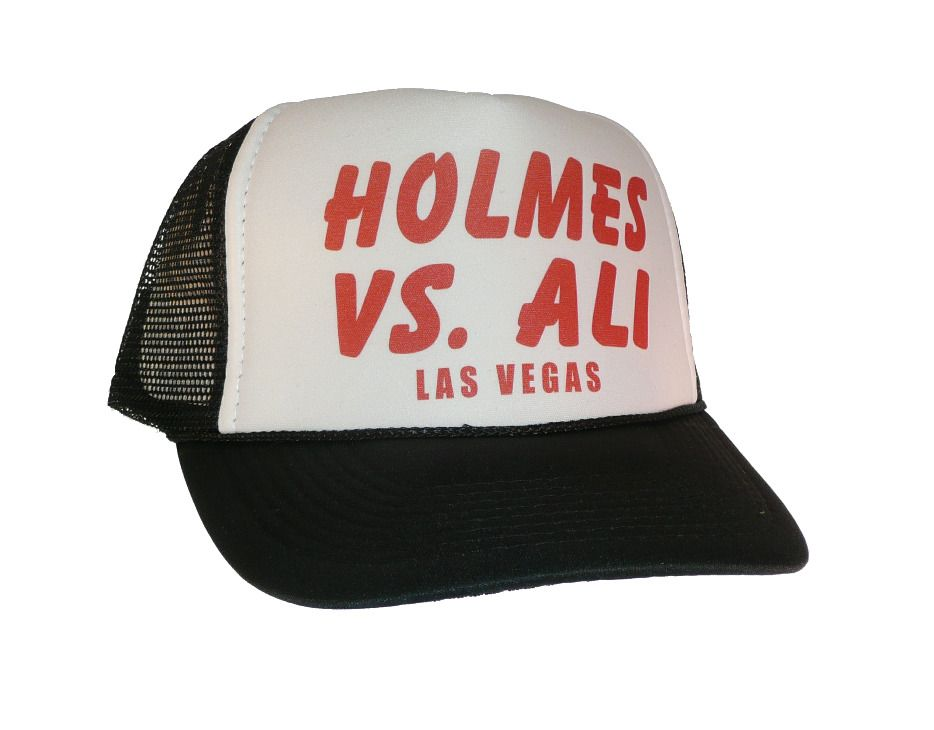 Vintage 1970 s Holmes vs Ali fight hat Trucker Hat Mesh Hat Free Shipping  black 62fa19fc567