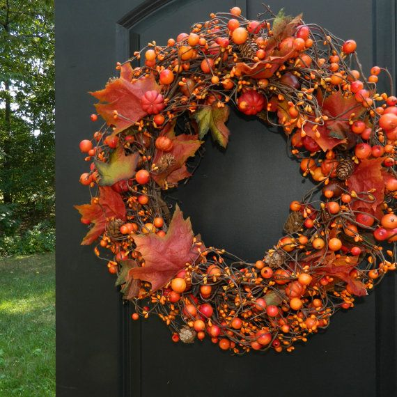 Autumn Berry Wreath Pumpkin - Fall Wreath - Autumn Door Decor - Thanksgiving Wreath on Etsy Sold & This berry door wreath from Ever Blooming Originals © is a beautiful ...