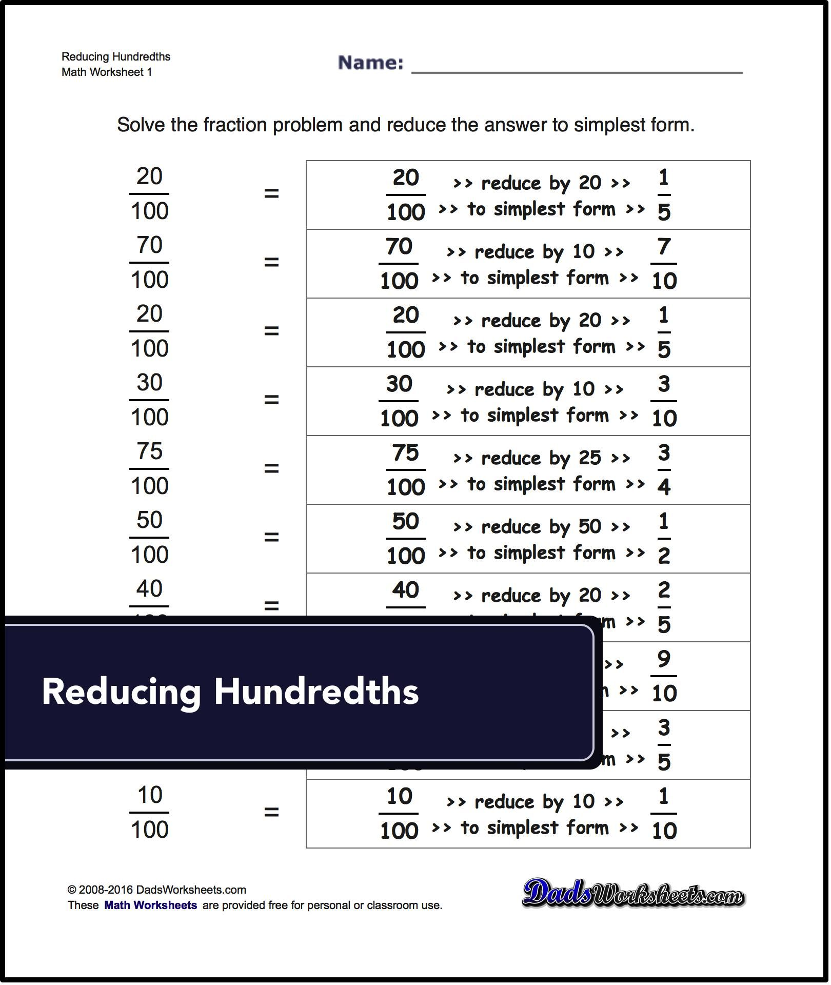These Worksheets Deal With Reducing Common Fractions To