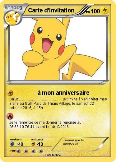 Souvent Pokemon Carte D Invitation 4 4 A Mon Anniversaire Ma Carte Pokem Anniversaire Pokemon Invitation Anniversaire Cartes Invitation Anniversaire Enfant