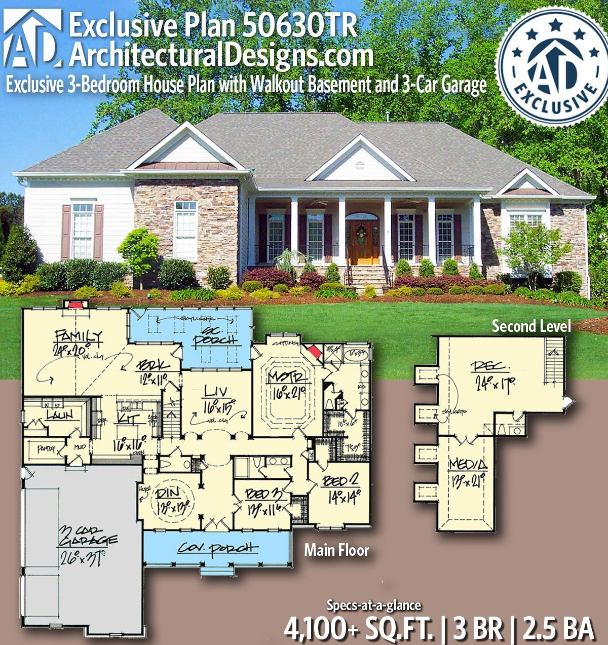 Plan 50630tr Exclusive 3 Bedroom House Plan With Walkout Basement And 3 Car Garage Exclusive House Plan House Plans Bedroom House Plans