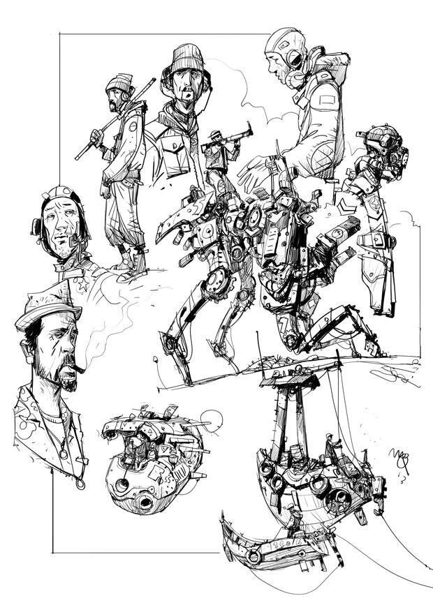 Sketchbook: Robots, dudes, etc.
